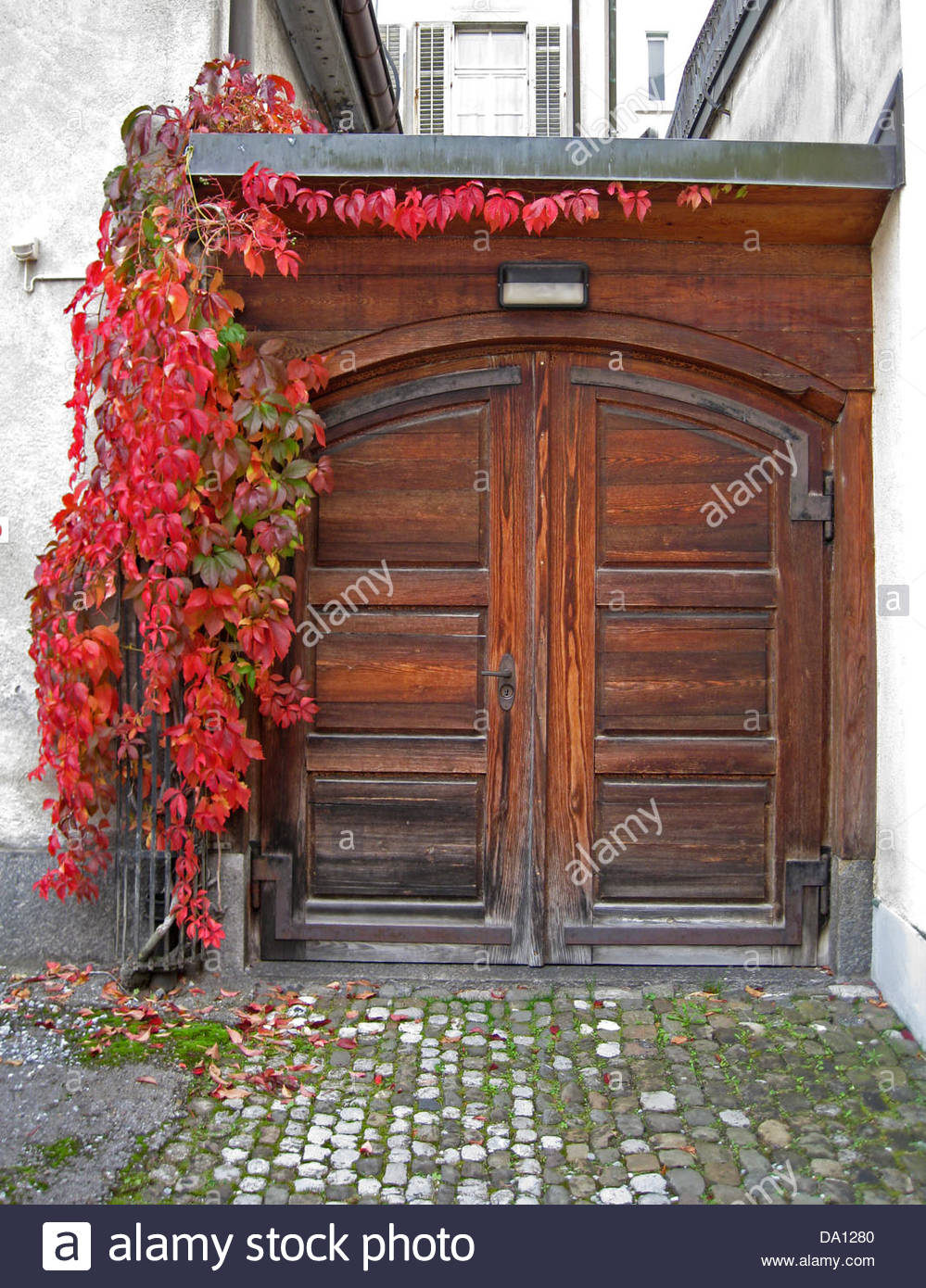Beautiful old wood door with red flowers stock photo for Beautiful wooden doors picture collection