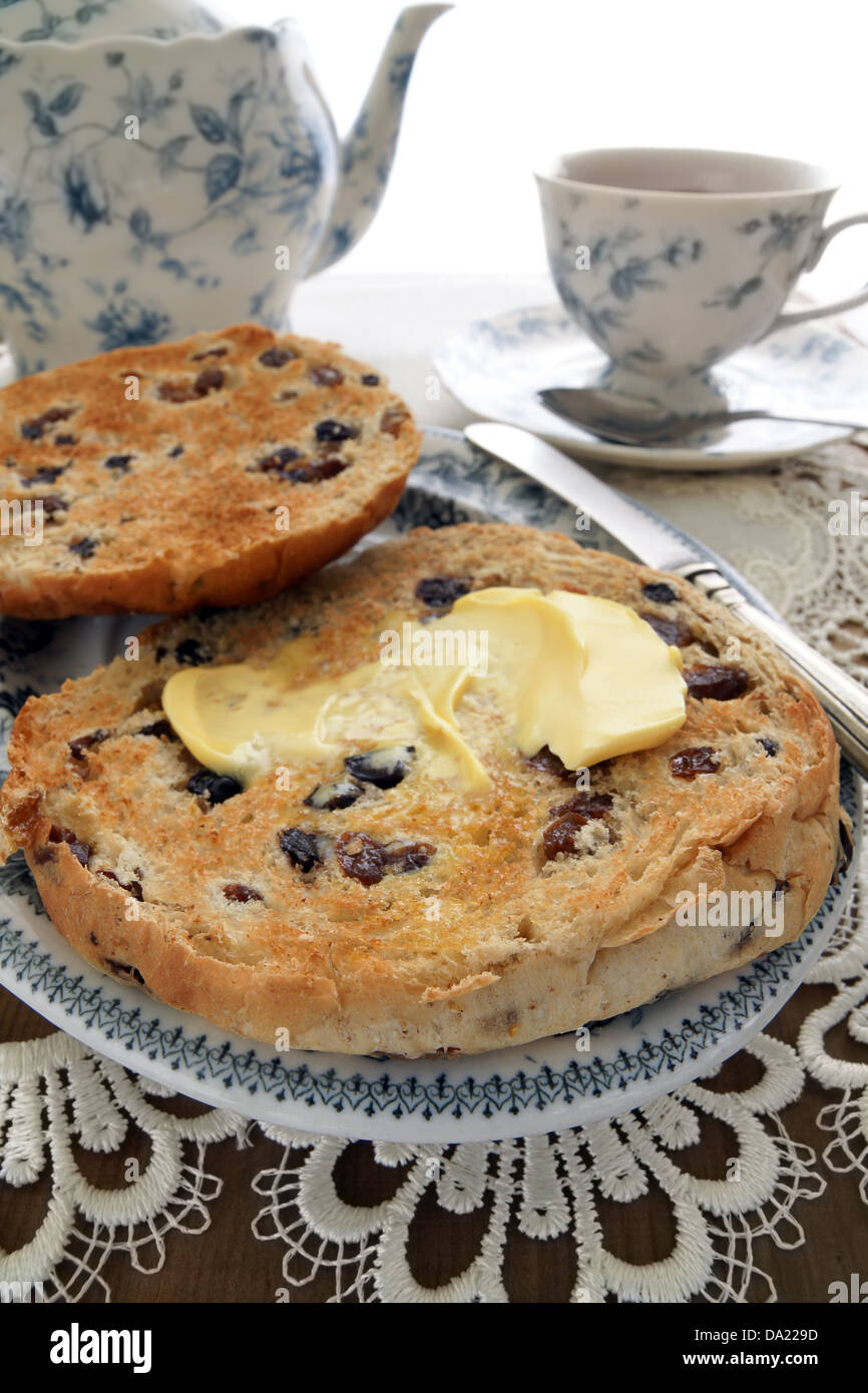 Toasted Teacakes a traditional British cake of raisin ...