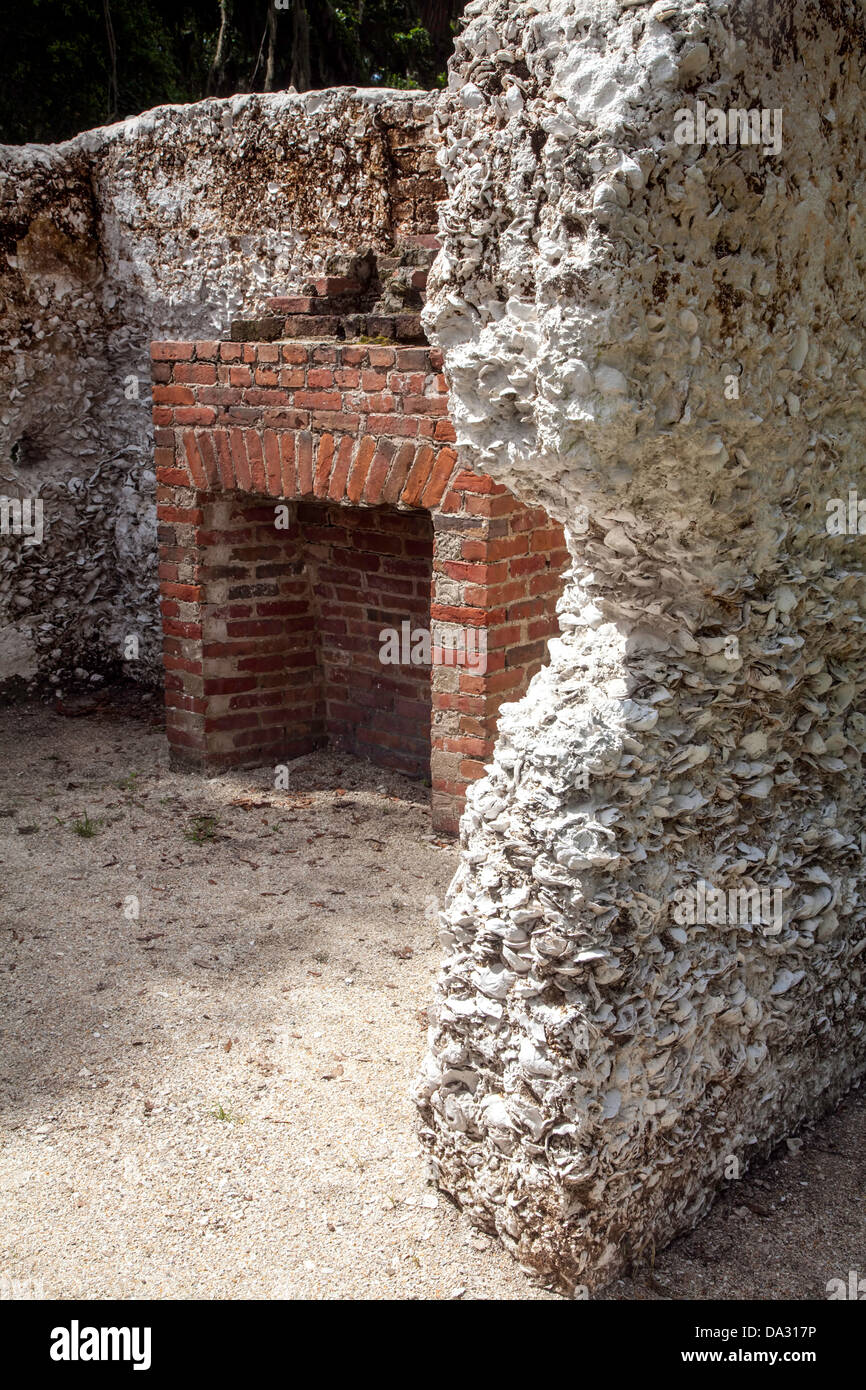 brick fireplace and tabby ruins of the kingsley plantation slave