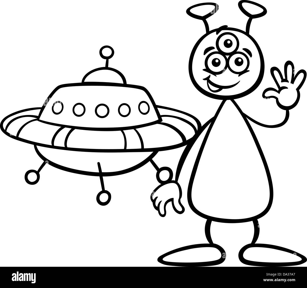 black and white cartoon illustration of funny alien or