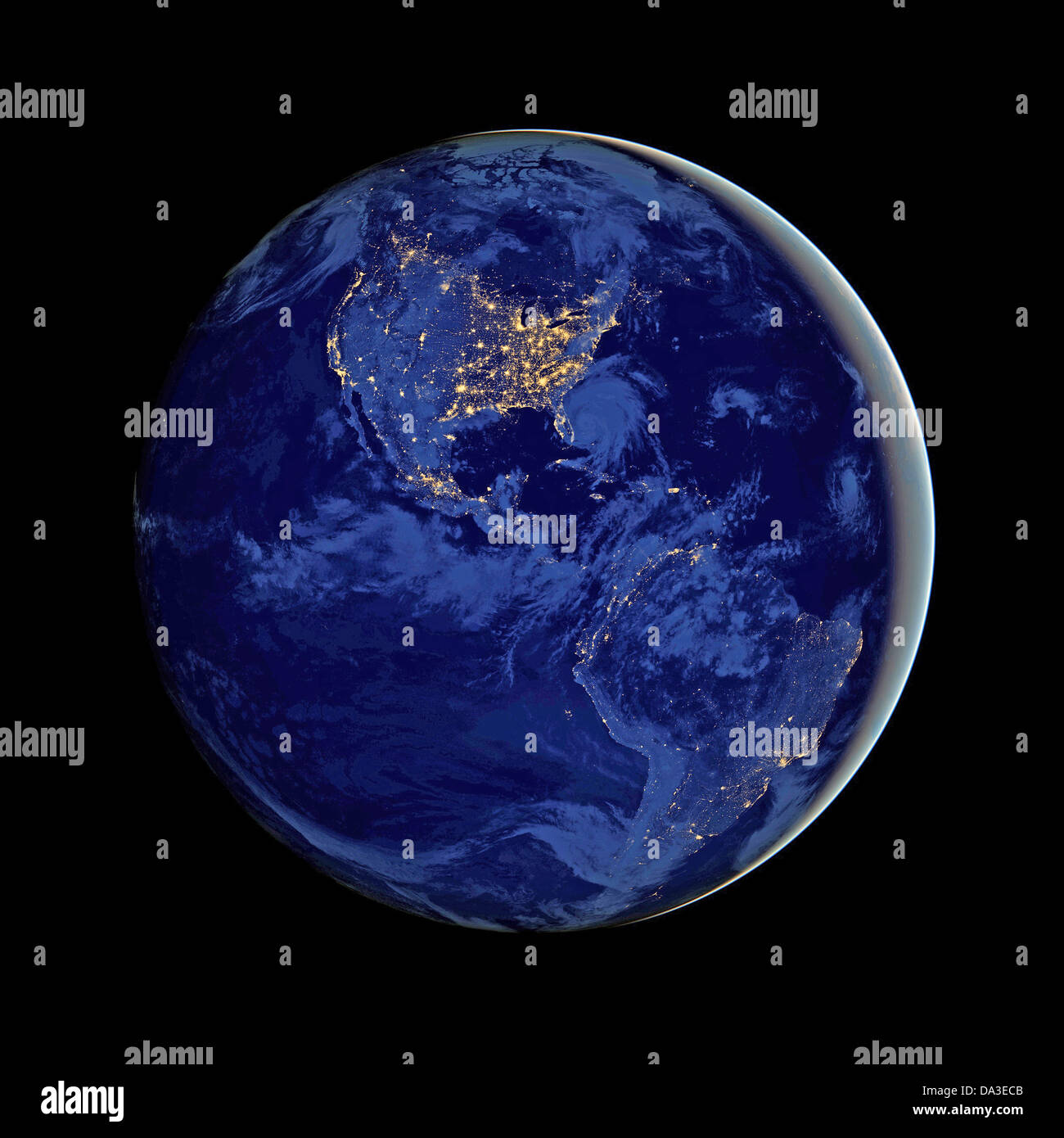 Space Earth Night Global View Earths City Lights Composite - World satellite map lights