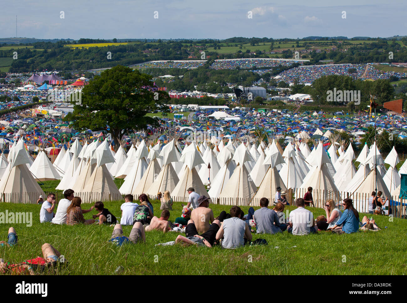 View of tents and tipis and stages at Glastonbury Festival of Contemporary Performing Arts 2013 & View of tents and tipis and stages at Glastonbury Festival of ...