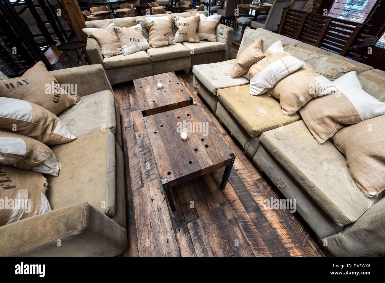 Rustic restaurant furniture - A Rustic Lounge Setting In A Restaurant