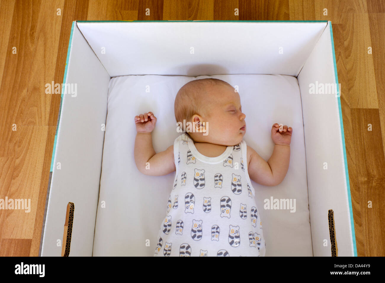 Wooden crib for sale in cebu - Young Baby Is Sleeping In A Finnish Maternity Box That Can Be Used As A First