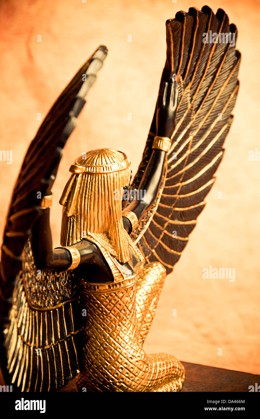 maat or isis egyptian goddess decoration replica stock photo