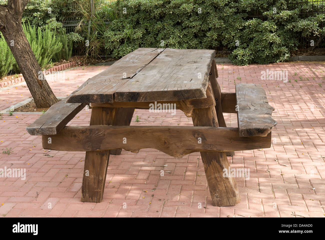Lovely Stock Photo   Wood Picnic Table And Benches In The Park
