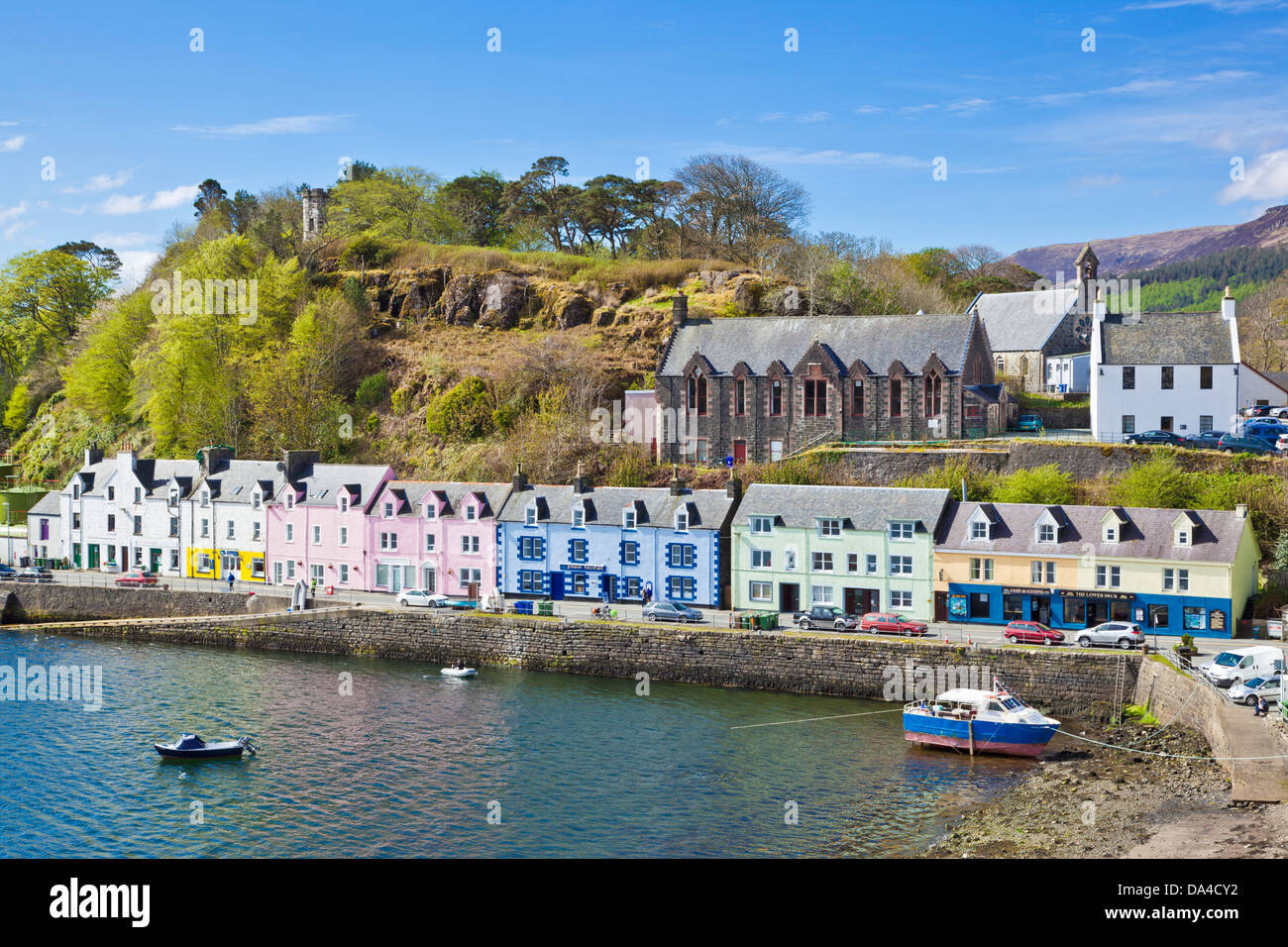 Coloured Houses In Portree Harbour Isle Of Skye Highlands