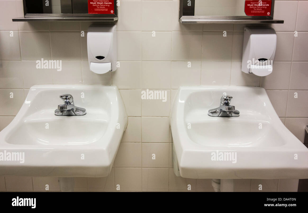 Public Bathroom Sink public bathroom in a shopping mall,lavatories, soap dispenser and
