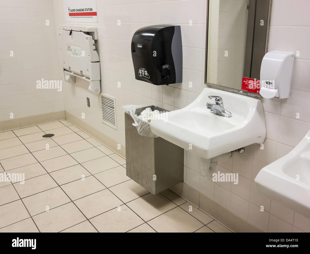 public bathroom in a shopping mall lavatories soap dispenser and mirrors oklahoma city oklahoma usa