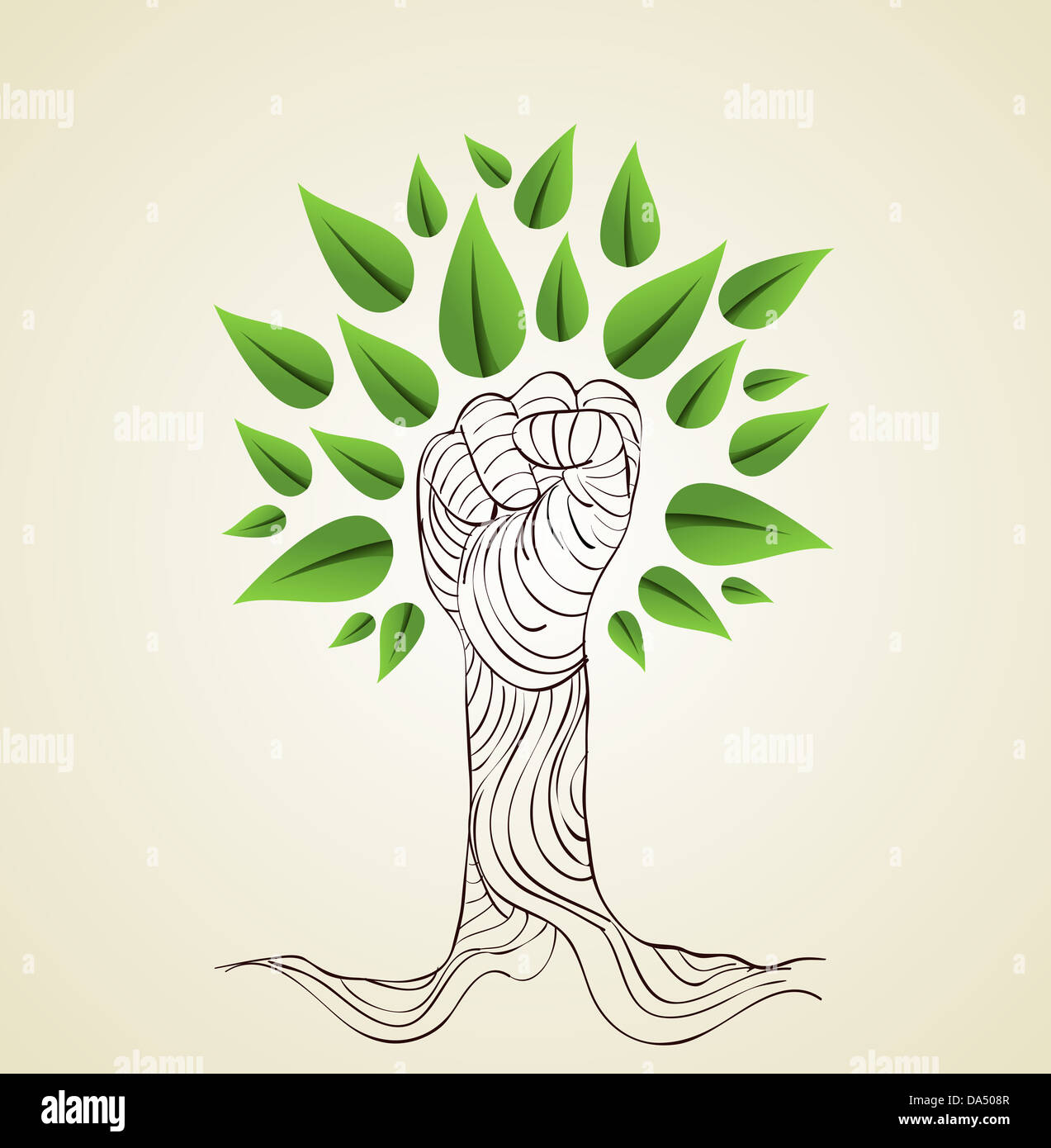 Hand draw style save the Earth tree idea. This illustration is Stock ...