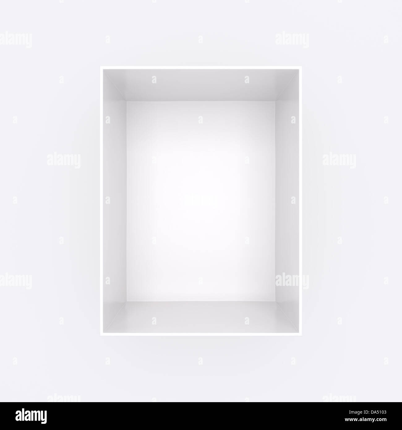 Open empty white gift box shot from above isolated on ...