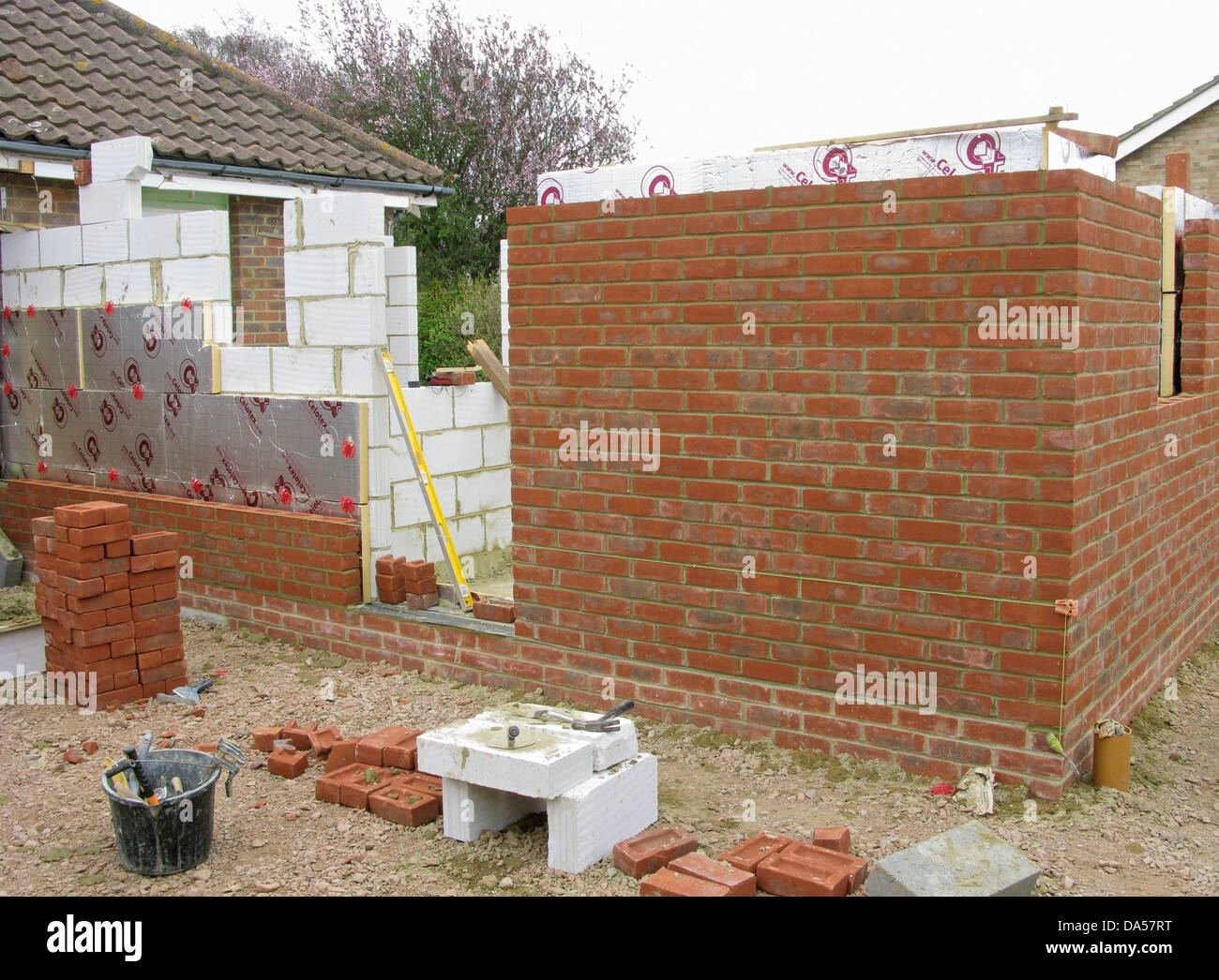 Masonry Wall Insulation : Brick wall with celotex thermal insulation board in cavity