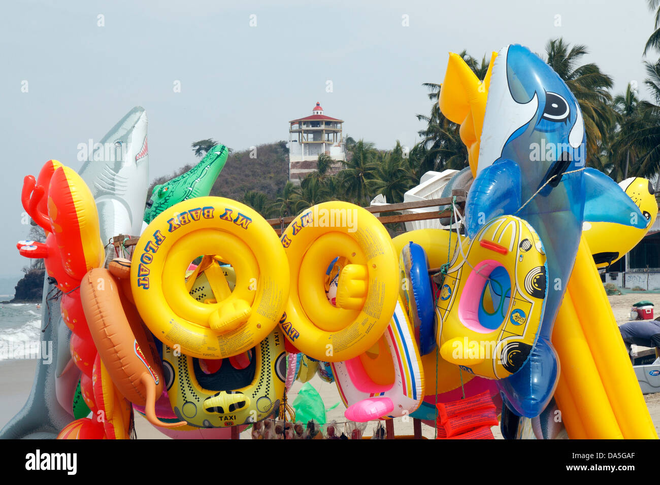 Toys For Beach : Inflated beach toys for sale by a vendor in mexico