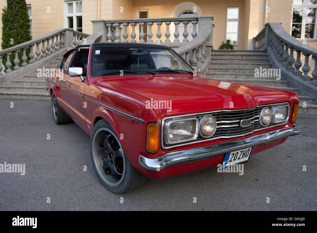 rare ford taunus gxl coupe in front of an old mansion in estonia stock photo royalty free image. Black Bedroom Furniture Sets. Home Design Ideas