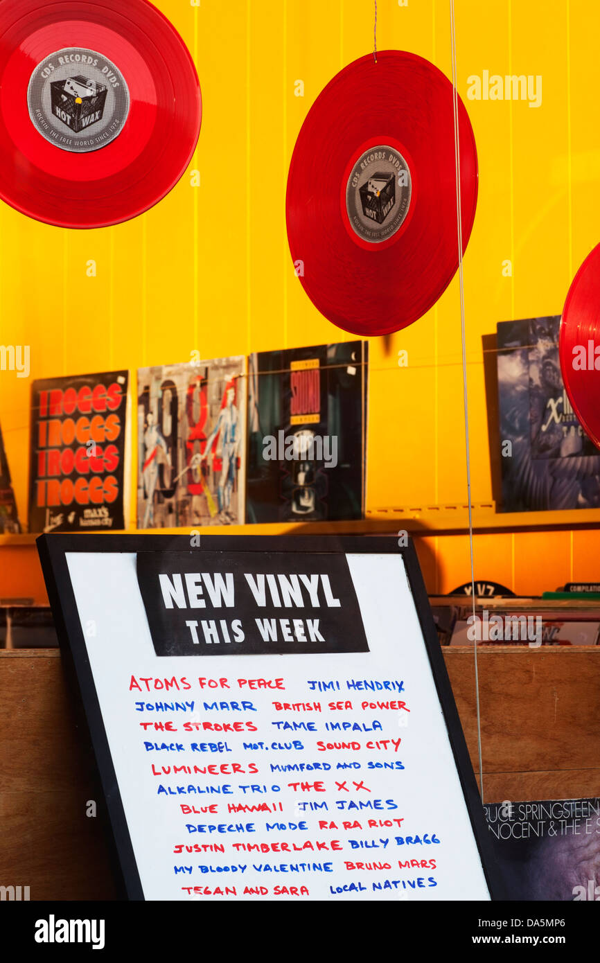 Display In Record Store Window With Lp Records And Board