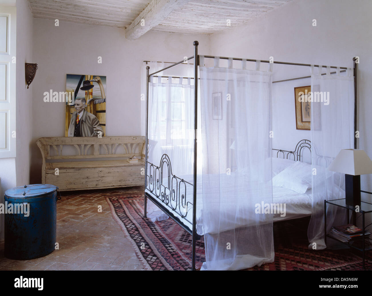 Metal four poster bed with white voile drapes in white for White four post bed