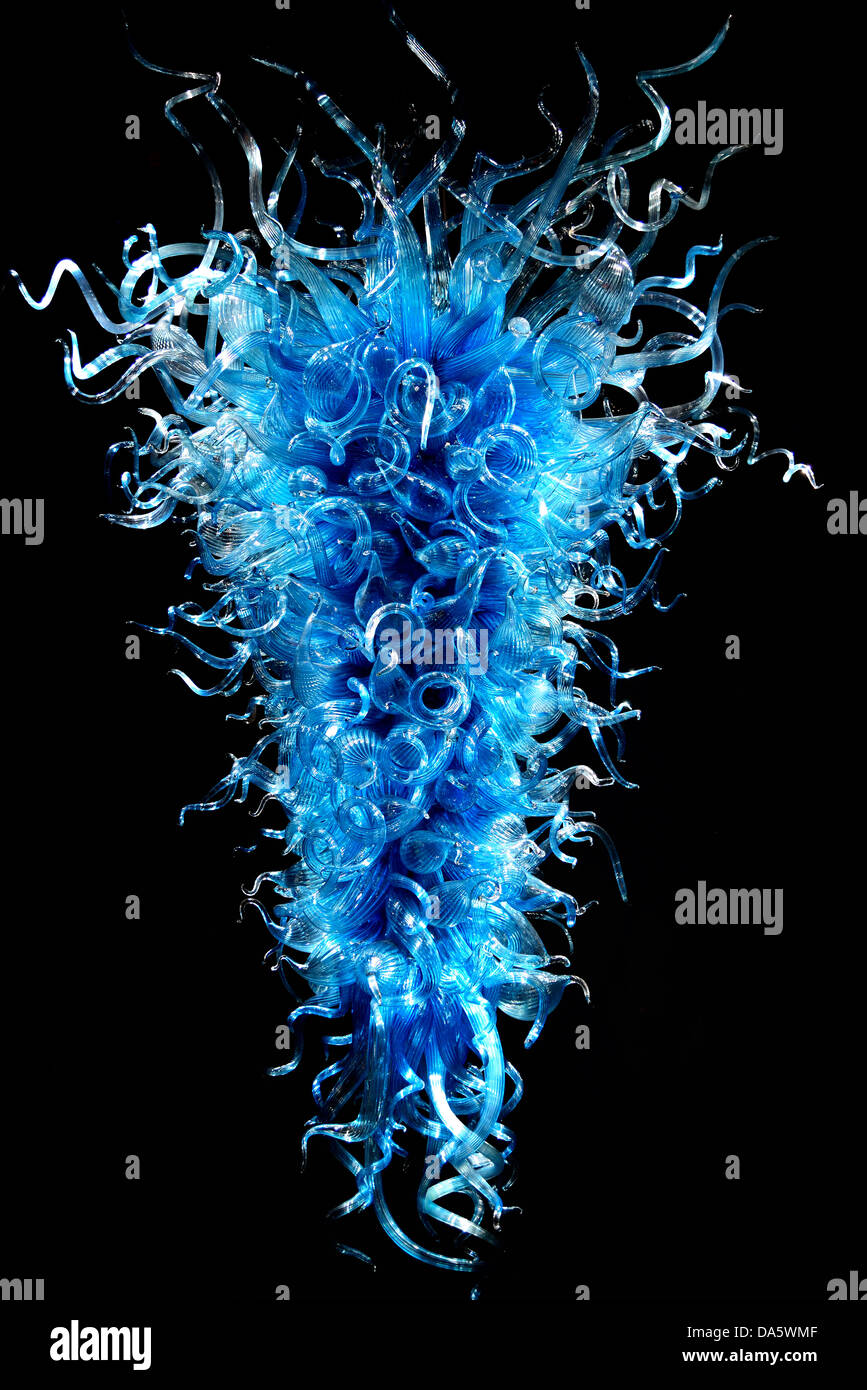 Blue glass chandelier by dale chihuly in display chihuly garden blue glass chandelier by dale chihuly in display chihuly garden and glass seattle washington usa arubaitofo Image collections