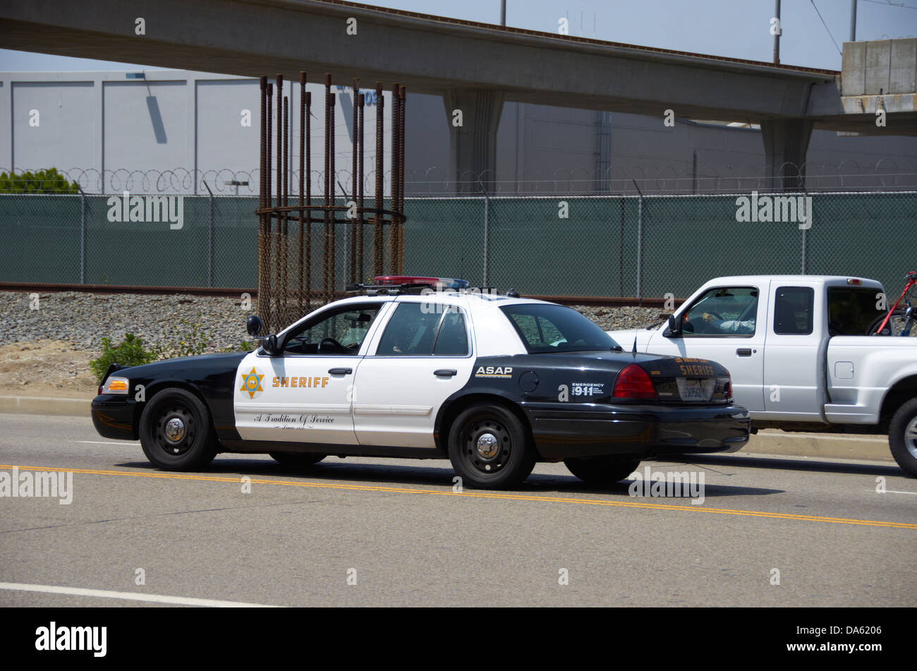 Police car on the highway in los angeles near lax stock image