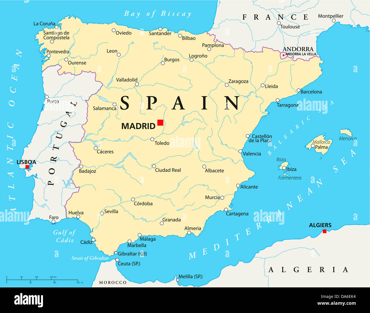 spain political map  stock image. mediterranean map spain stock photos  mediterranean map spain