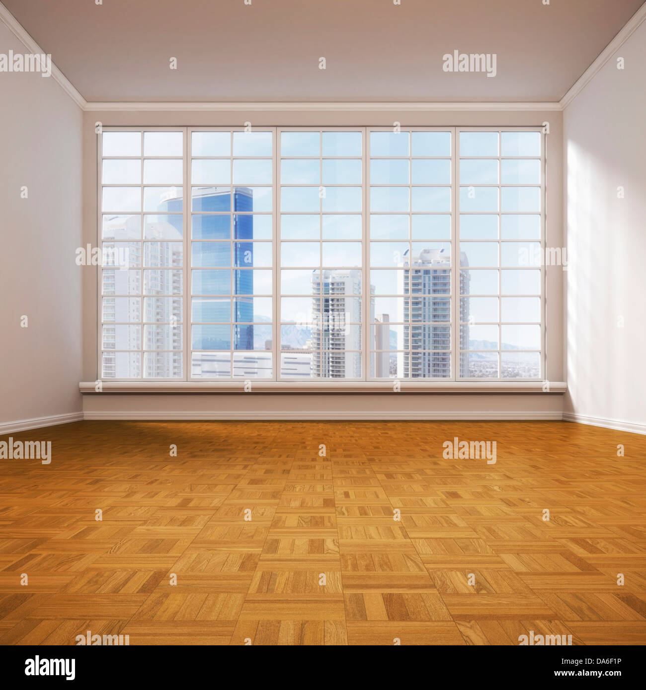 Empty Room: Empty Living Room, 3D Illustration Stock Photo, Royalty
