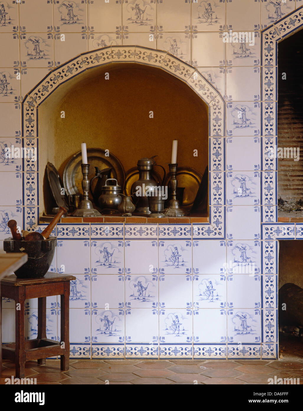Kitchen Alcove Blue White Tiled French Country Kitchen Collection Of Pewter Ware
