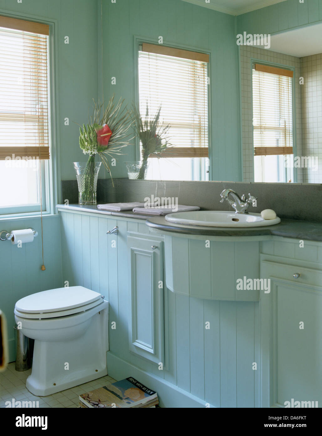 Mirrored Wall Above Basin And Toilet In Tongue Groove Paneled Vanity Unit In Pale Blue Country Bathroom