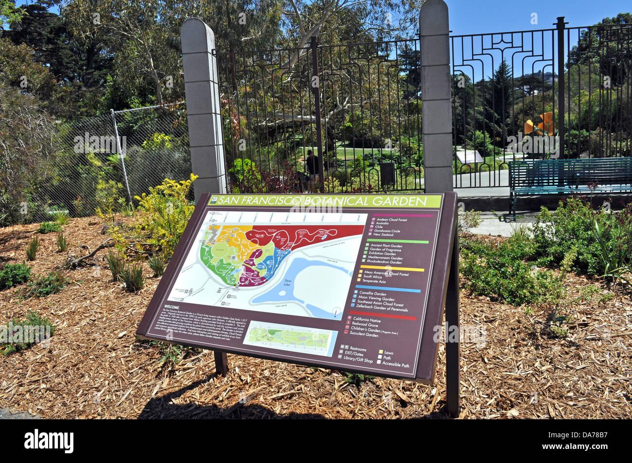 San Francisco Botanical Gardens Entrance Map Sign In Golden Gate Park California Us