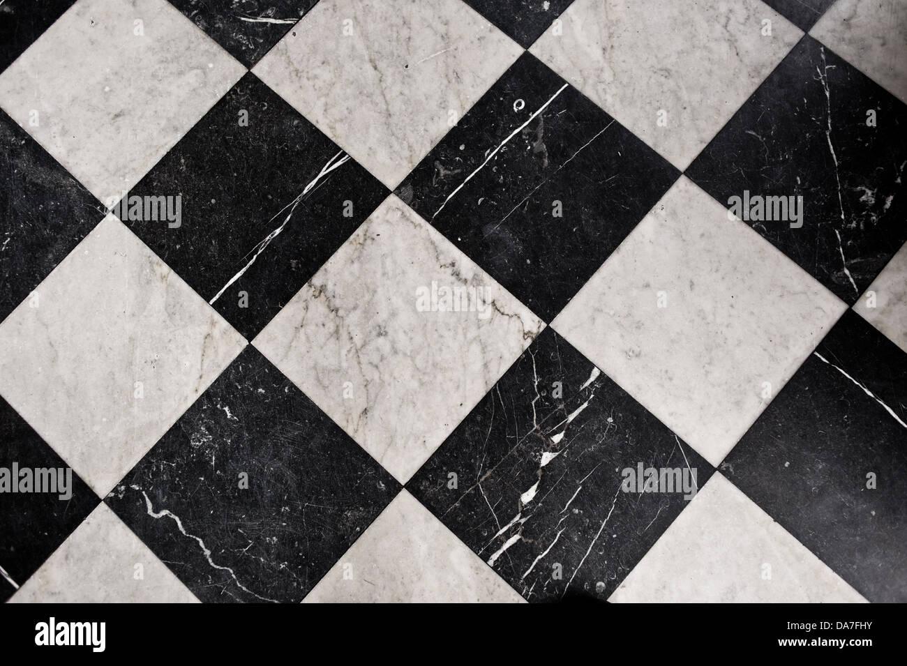 Black And White Marble Tiles Bathroom Flooring Stock