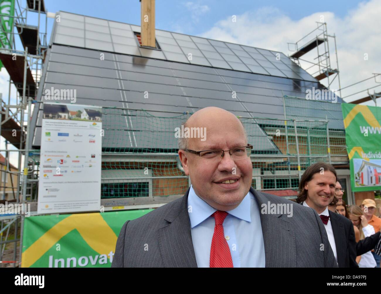 Good Energy Expert Timo Leukfeld (R) Presents The Shell Construction Of An Energy  Self Sufficient House To German Minister For The Environment Peter Altmaier  ...