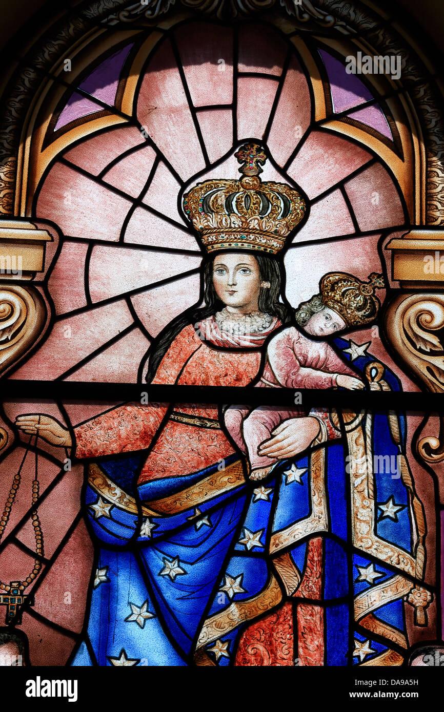 Virgin Mary Holding Baby Jesus Nativity Stained Glass Window In La Matriz Church Cotacachi Ecuador