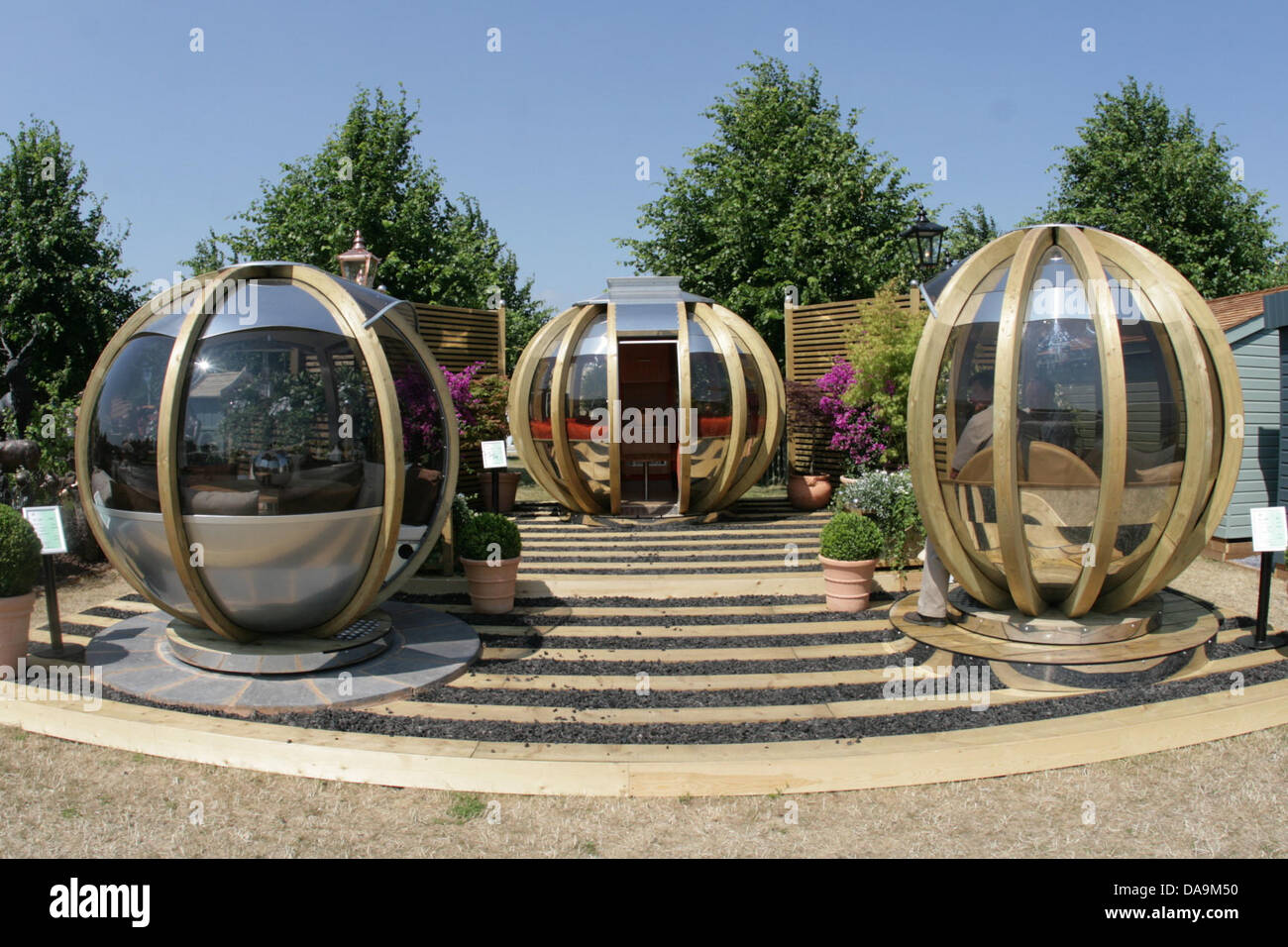 London uk 8th july 2013 garden pods at rhs hampton for Garden pods to live in