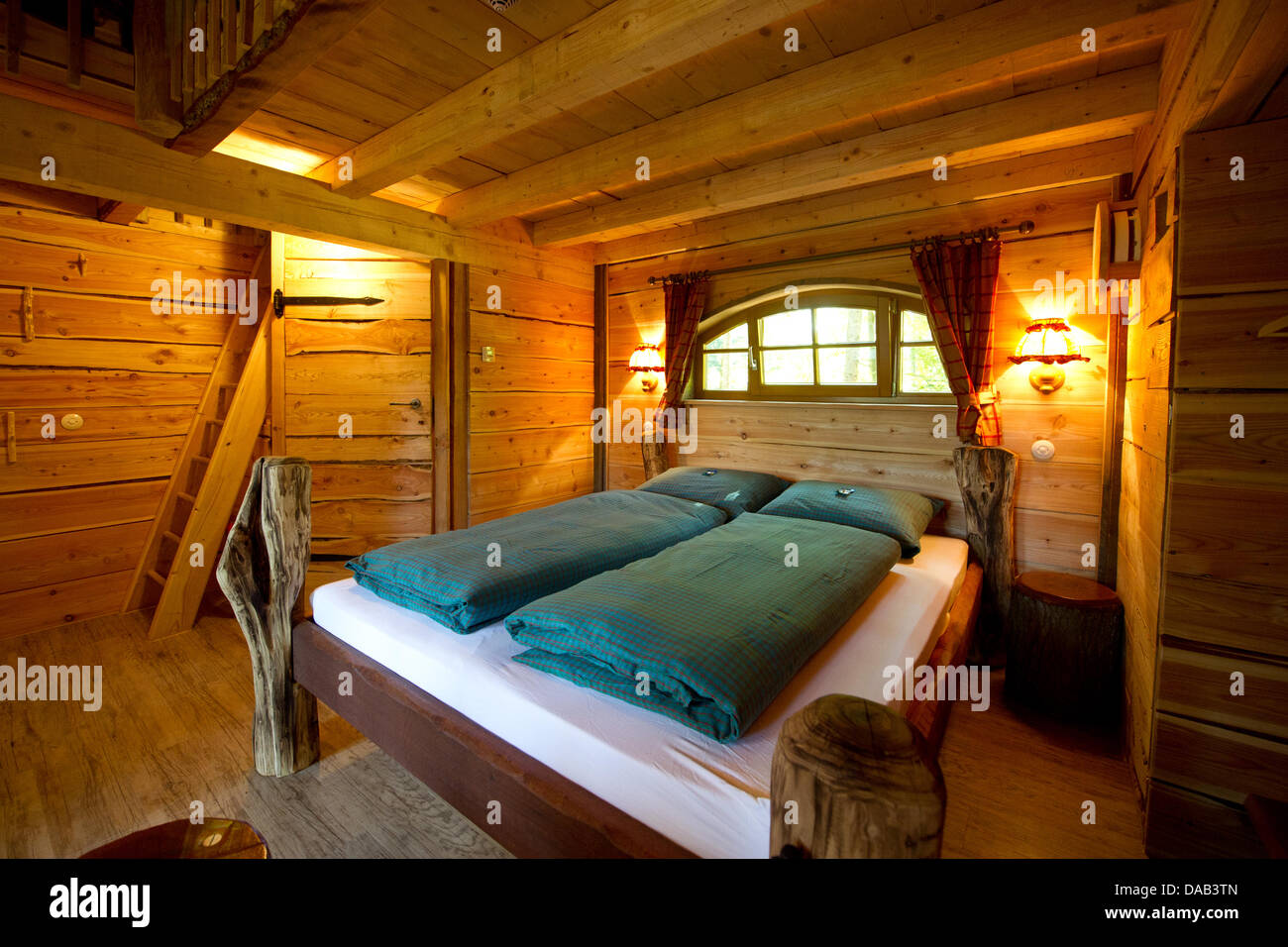 the interior of a treehouse is seen in the adventure park stock photo royalty free image. Black Bedroom Furniture Sets. Home Design Ideas