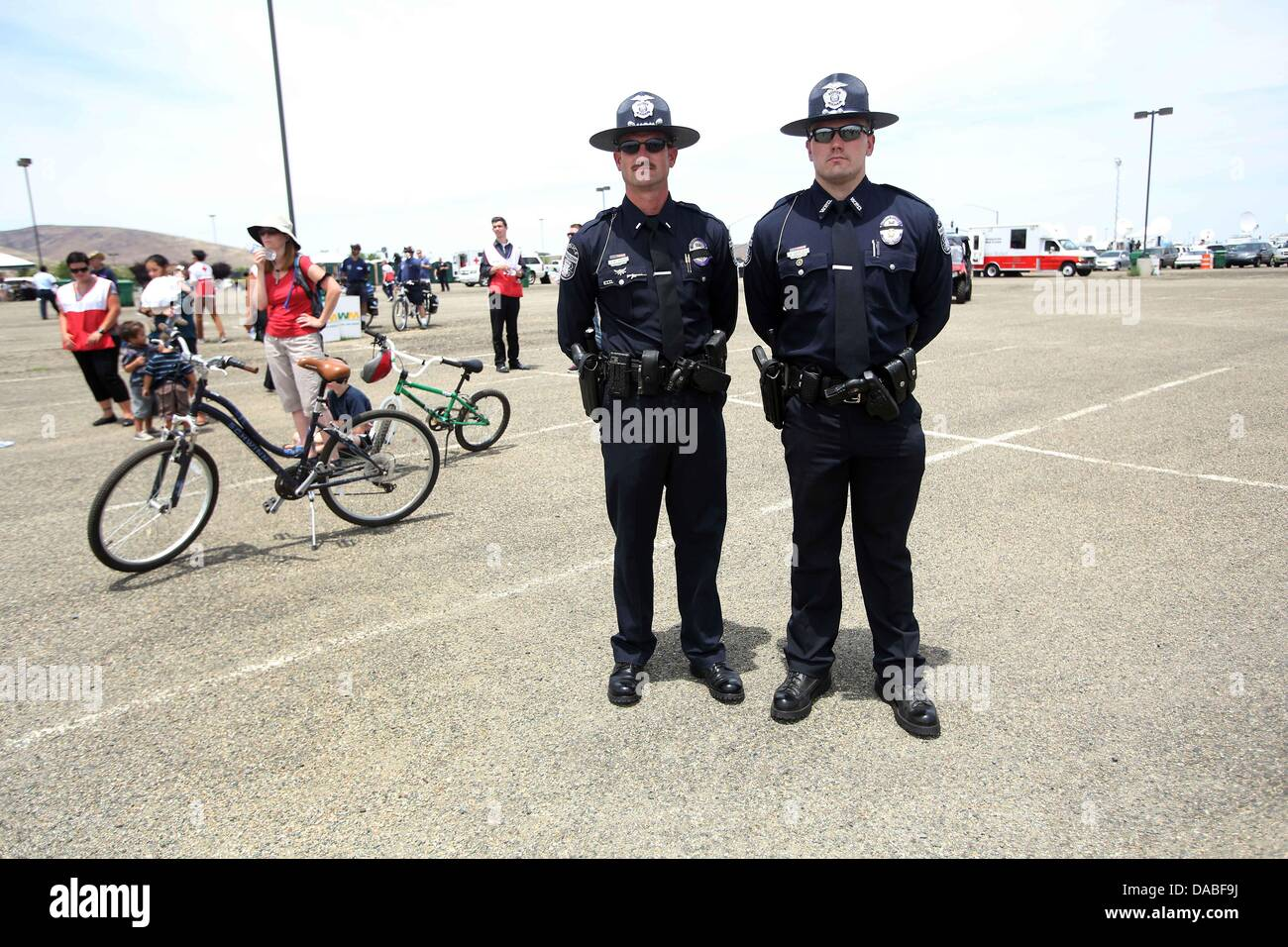 K w arend and a shipley of the winslow police stand outside of tim s toyota center in prescott arizona the 19 granite mountain hotshots killed in