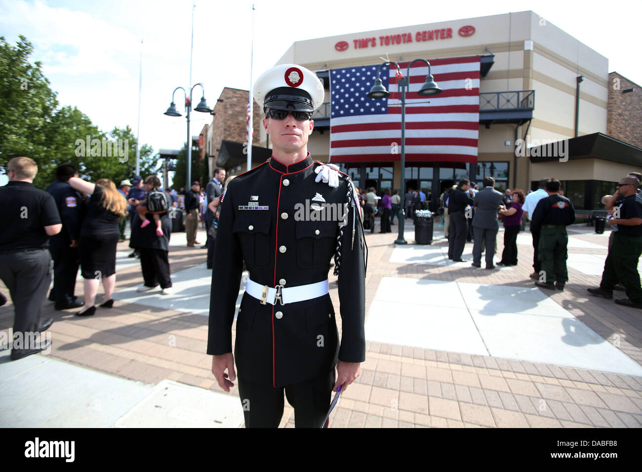 Firefighter greg heckenbach of bloomingdale illinois stands outside of tim s toyota center in prescott arizona the 19 granite mountain hotshots killed in