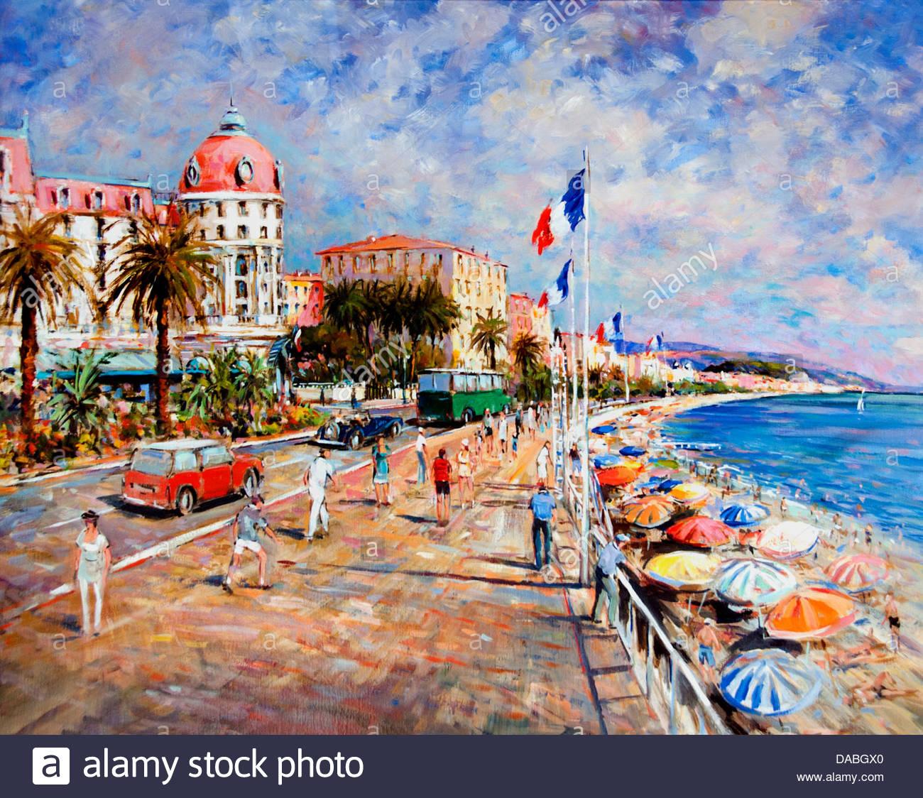 painting hotel negresco nice beach promenade des anglais