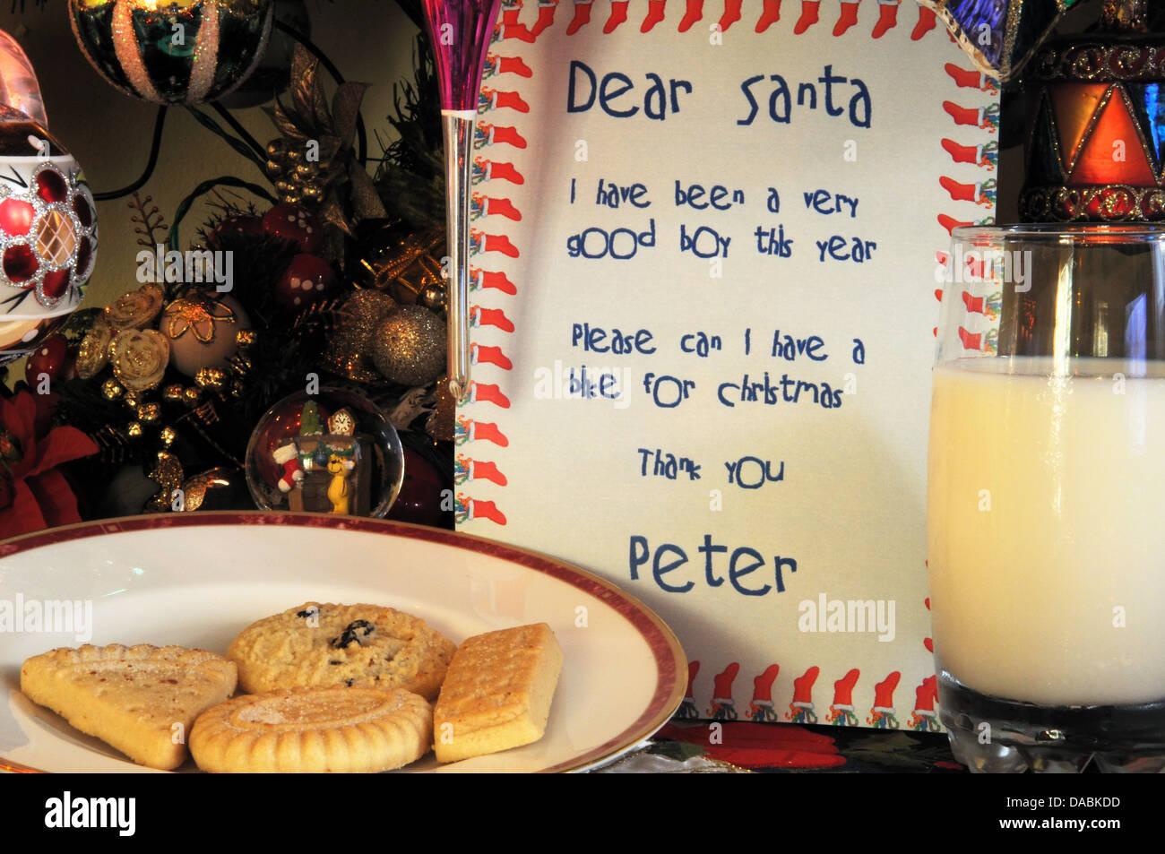 Dear Santa Letter With Milk