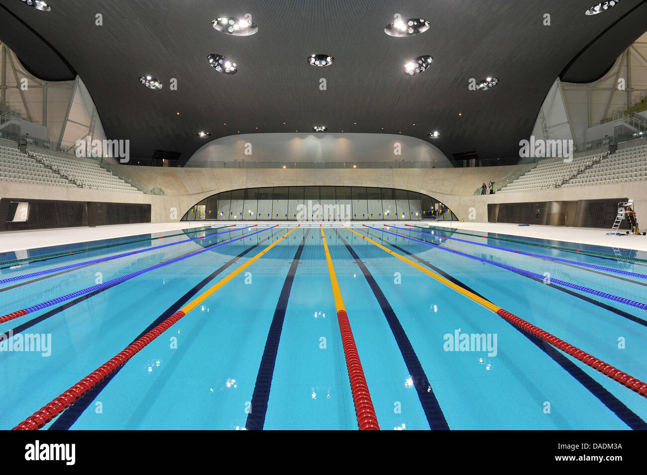the swimming stadium aquatics centre designed by architect zaha hadid is seen with the swimming pool for the swimming competitions at the olympic park in - Olympic Swimming Pool 2012