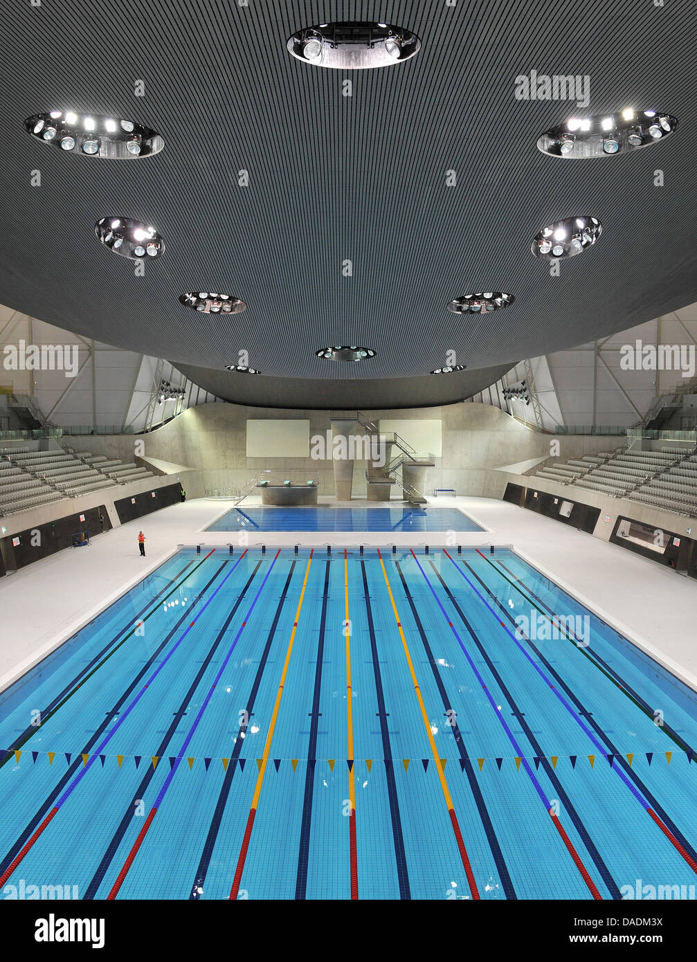 stock photo the swimming stadium aquatics centre designed by architect zaha hadid is seen at the olympic park in london great britain 25 october 2011