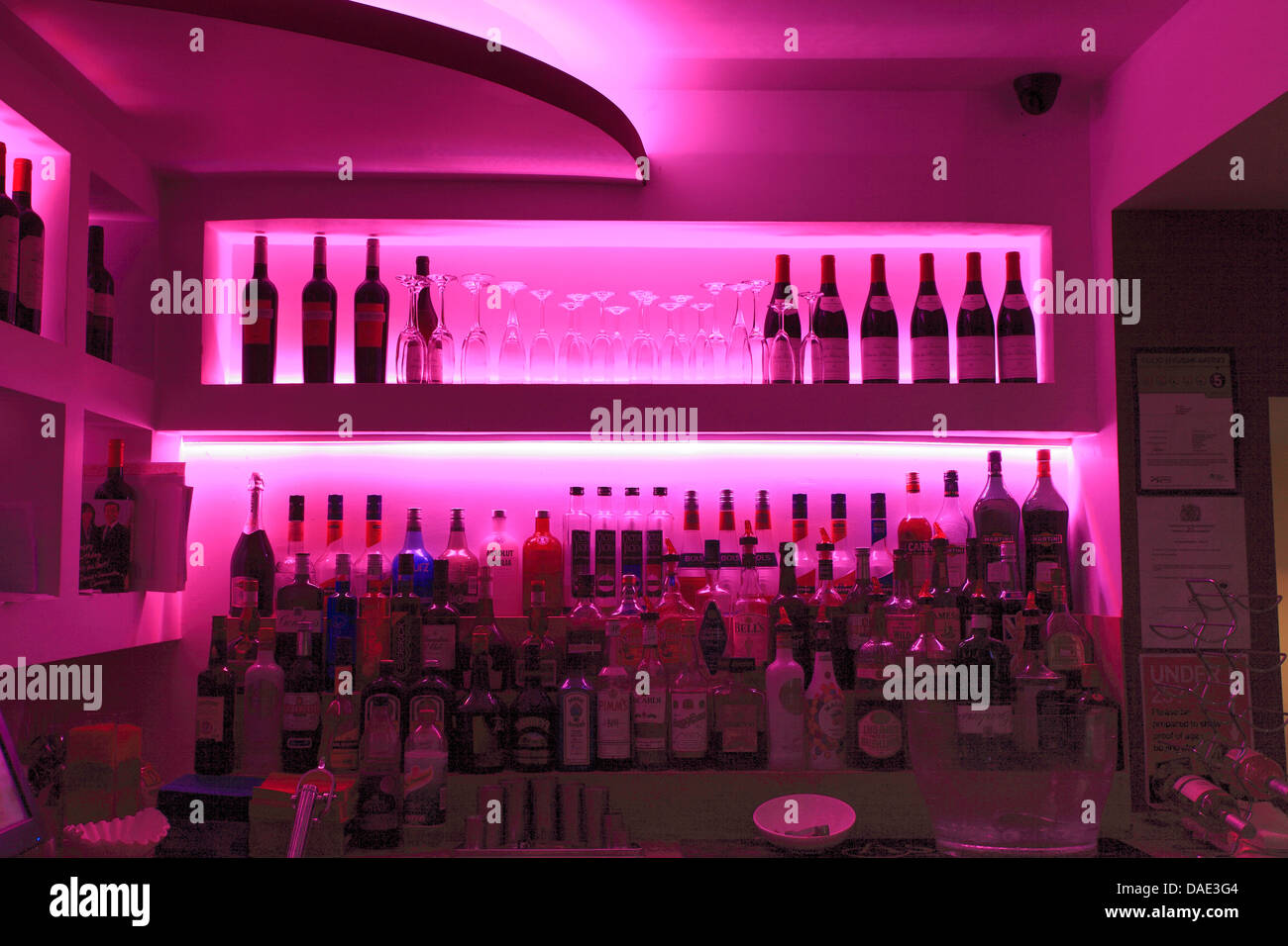 modern cafe bar with pink subtle lighting, public house interior