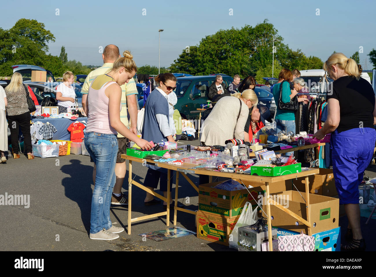 Shoppers at the sunday morning car boot sale at the countess of chester hospital stock