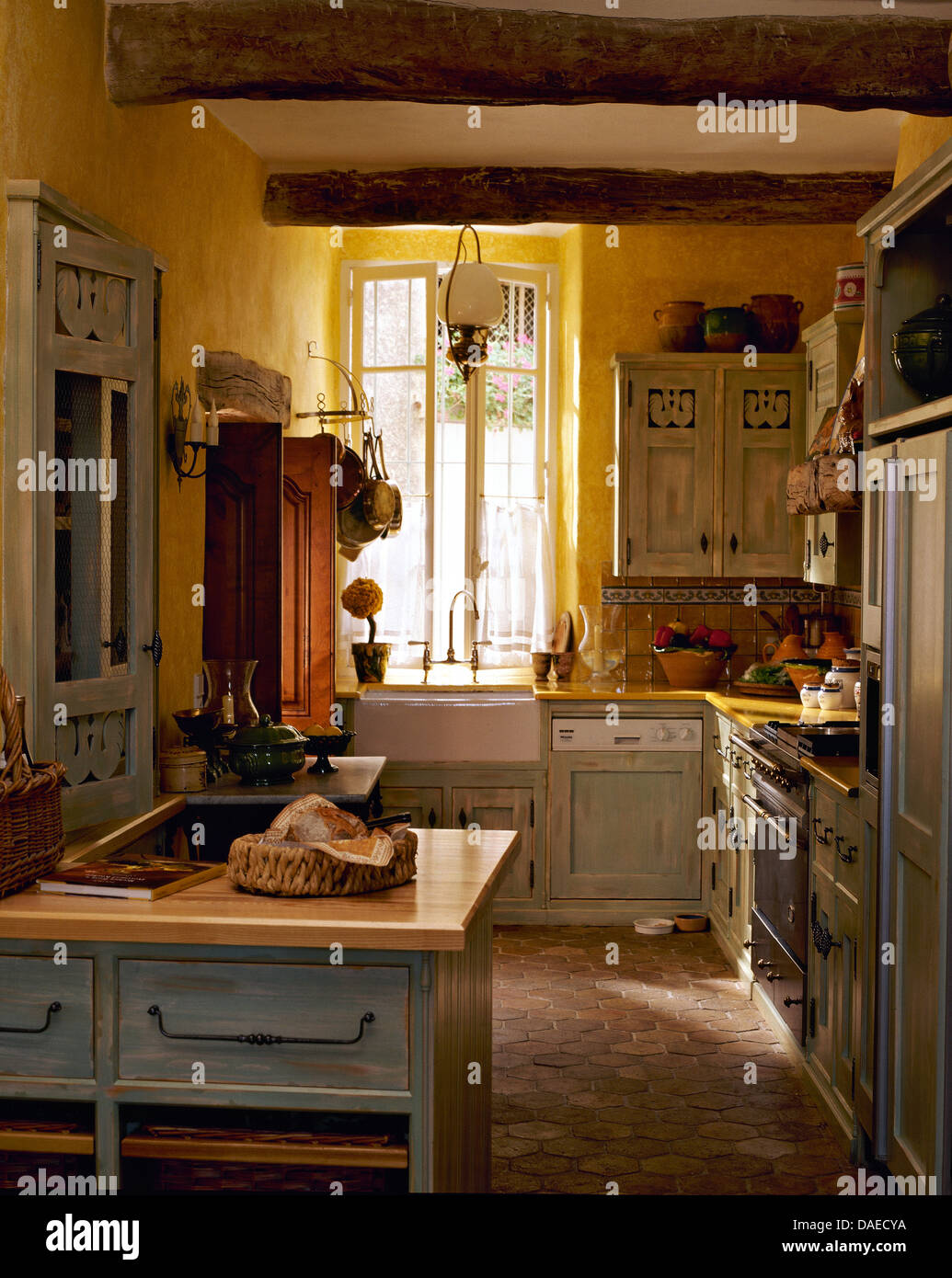 Kitchens With Terracotta Floors Pale Gray Cupboards In Yellow French Country Kitchen With