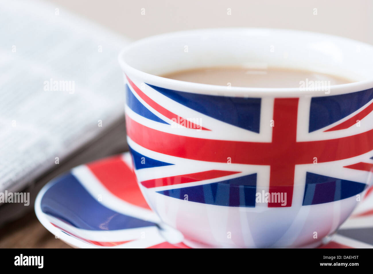 Cup Of Tea With Union Jack Cup Saucer And Newspaper England Uk