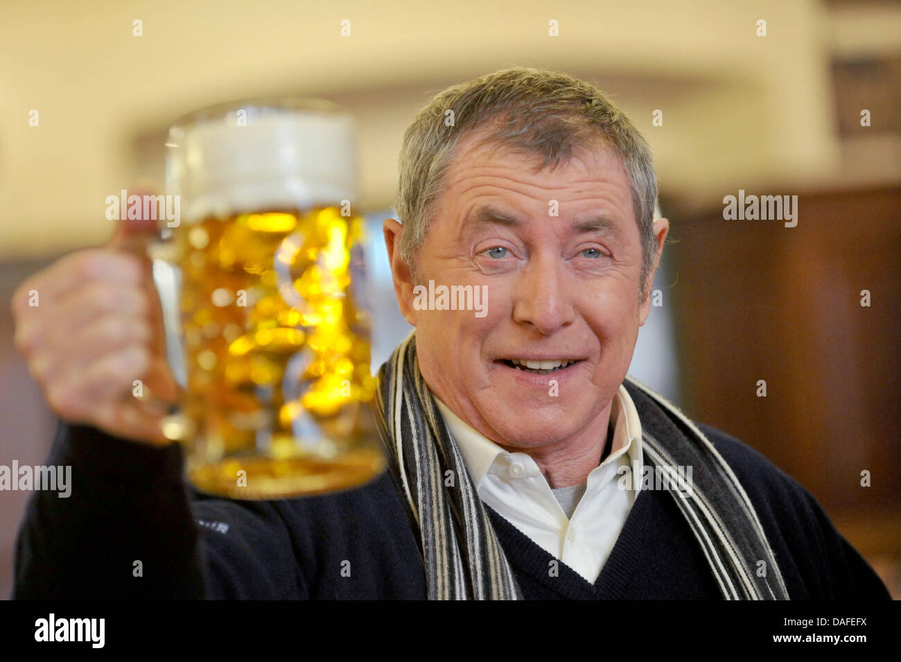 British actor John Nettles poses with a beer during a ... John Nettles 2017