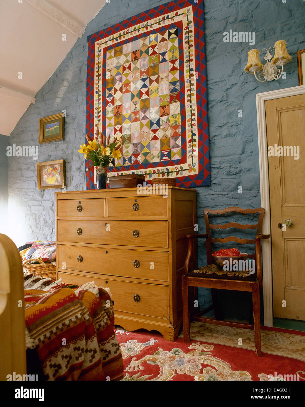 Pine Bedroom Chest Of Drawers Patchwork Quilt On Wall Above Pine Chest Of Drawers In Attic
