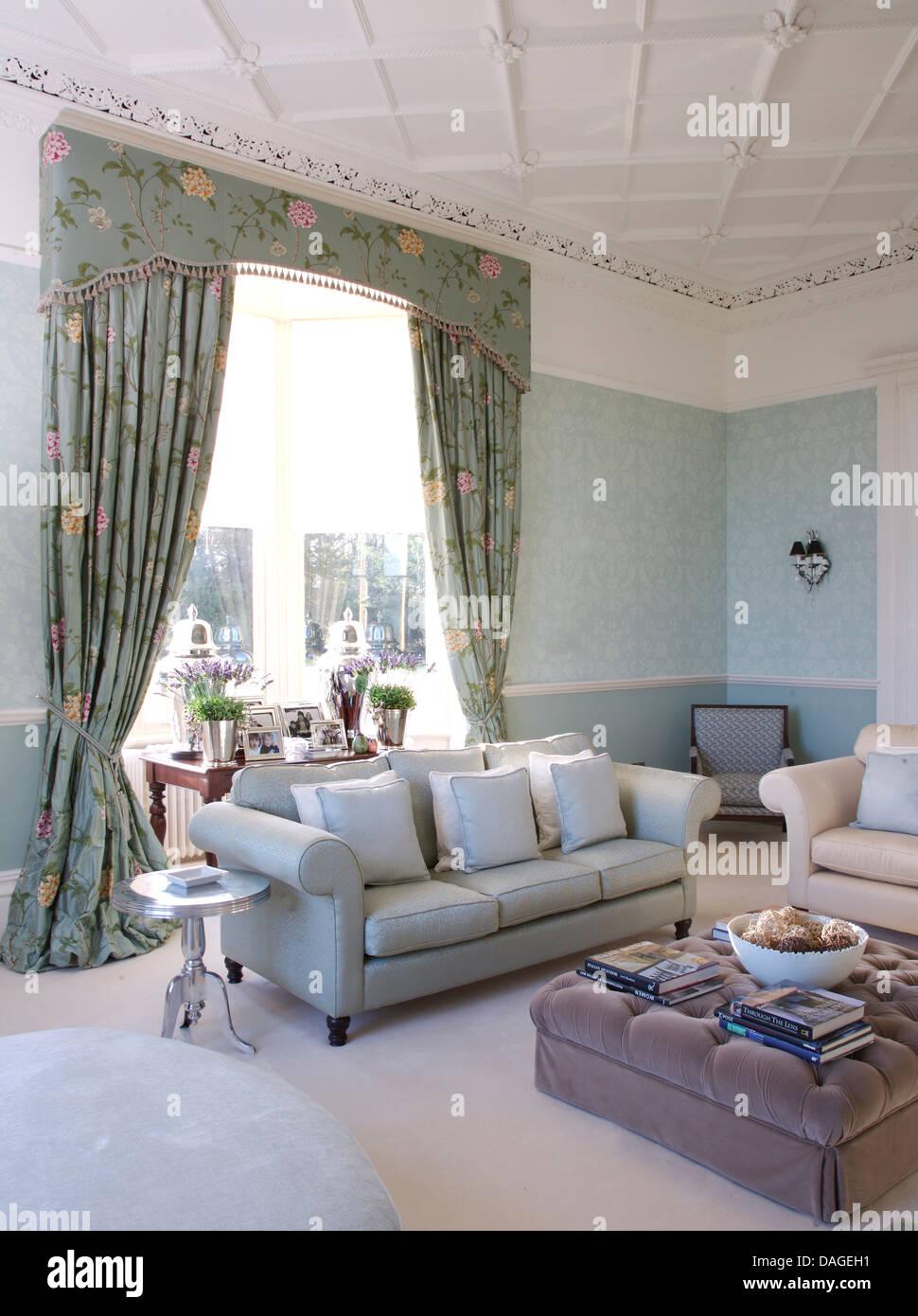 Pale Blue Living Room Blue Pink Floral Curtains In Pale Blue Living Room With With Pale
