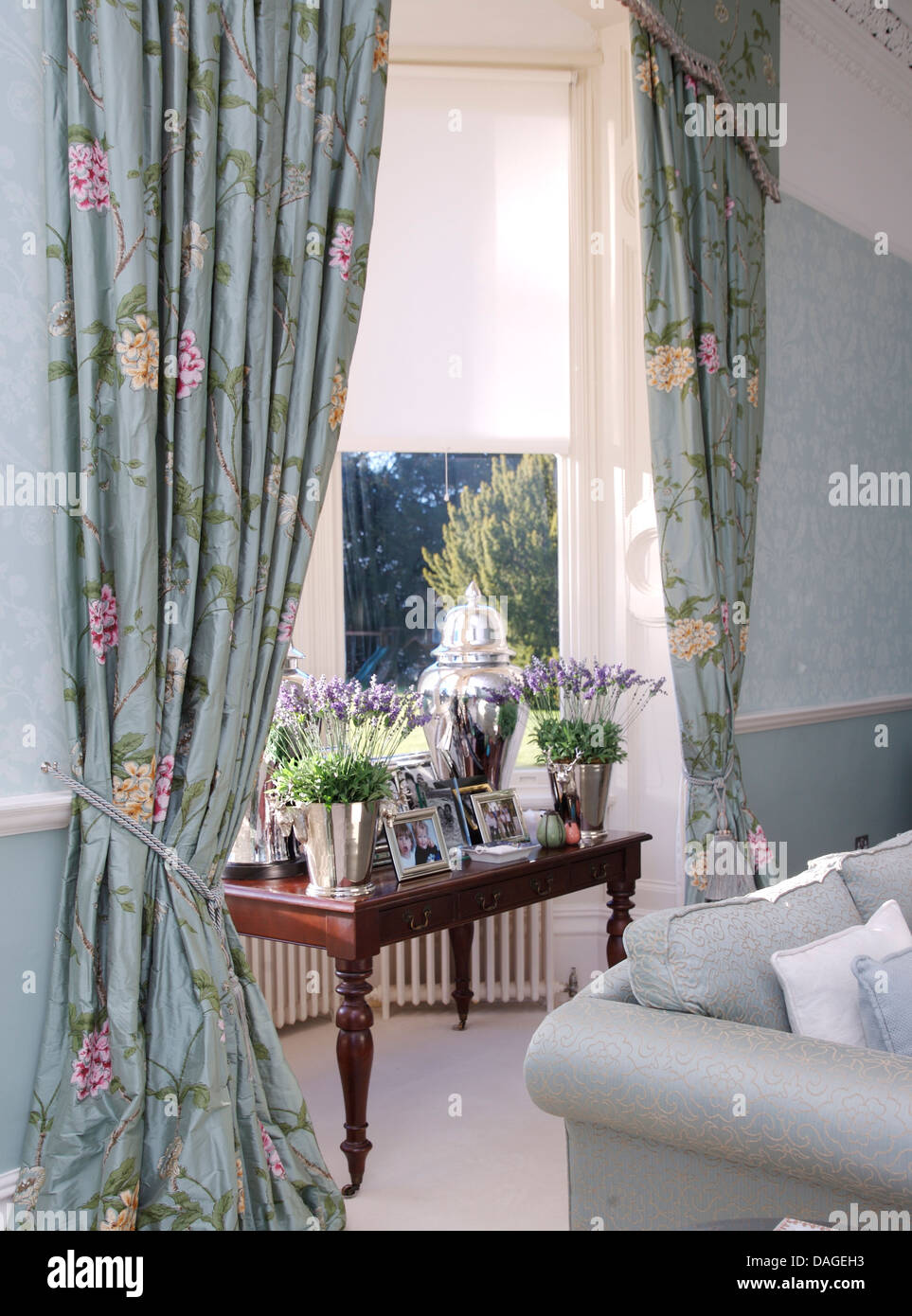 Pots Of Lavender On Table In Window With Pale Blue Floral Curtains And  White Blinds In Pale Blue Living Room