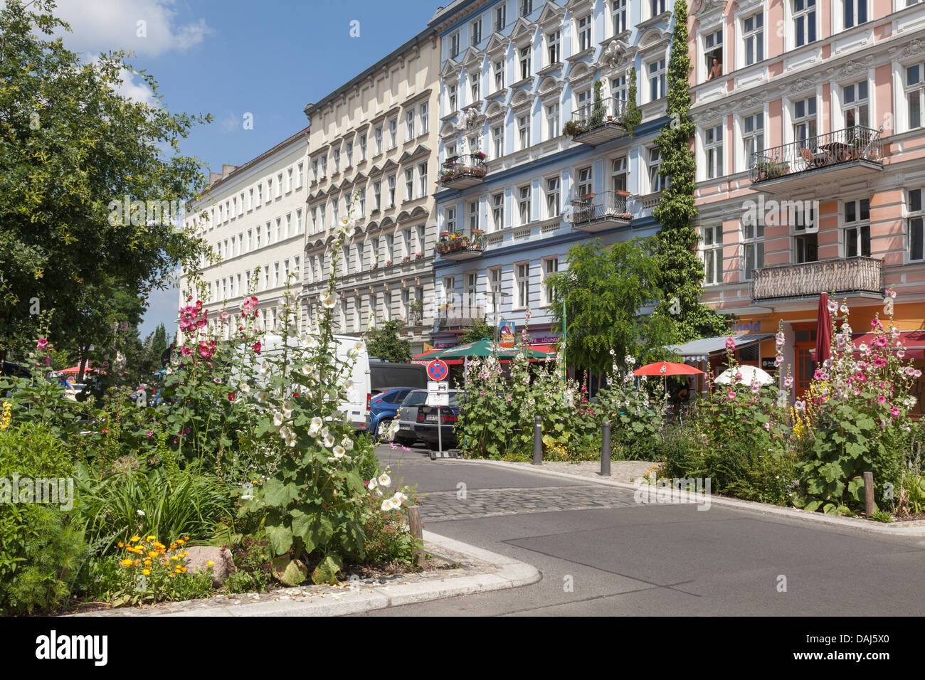 old buildings and flowers on oderberger strasse prenzlauer berg stock photo royalty free image. Black Bedroom Furniture Sets. Home Design Ideas