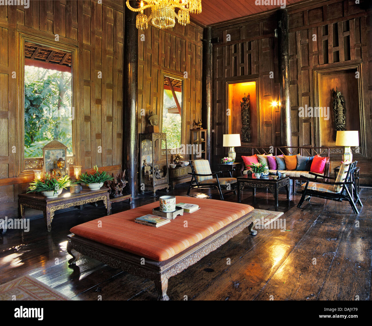 Villa living room in the jim thompson house stock photo for The thompson house