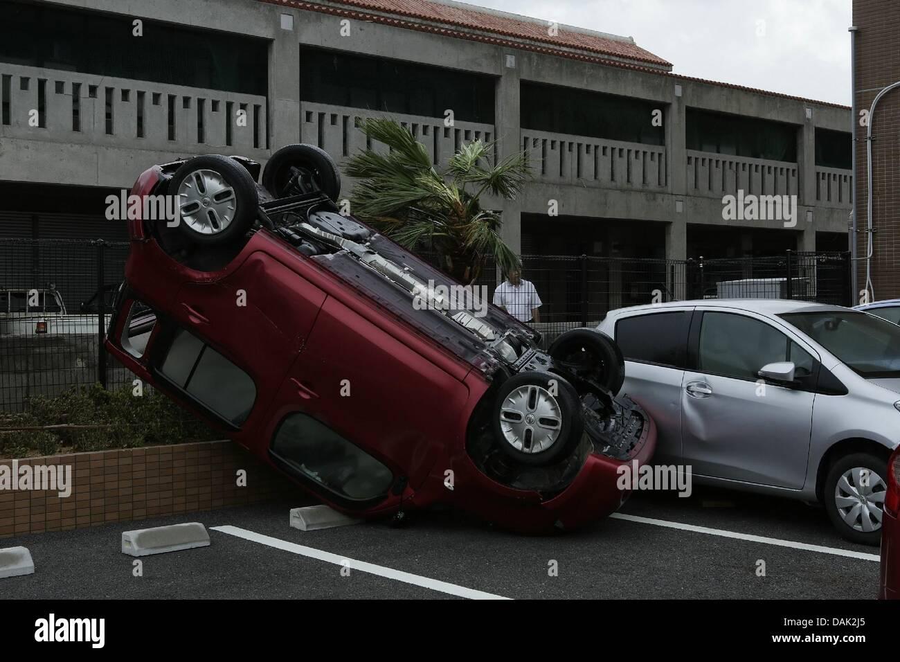 July 13 2013 Ishigaki Okinawa Japan Cars Are Damaged By
