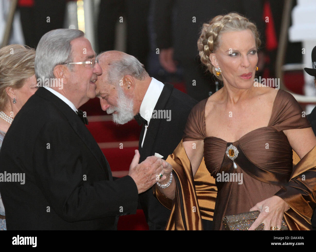 king constantine of greece and princess michael arrive for